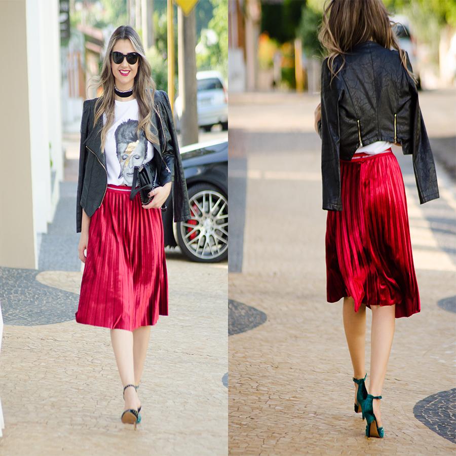 5fef0e47a Look para meu primeiro Fashion Week N43 Outono/Inverno. Saia plissada de  veludo + tee de banda + jaqueta de couro – Look cheio de atitude.